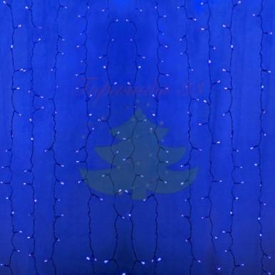 Светодиодный Дождь 2х1,5м, постоянное свечение, прозрачный провод, диоды СИНИЕ, NEON-NIGHT,NEON NIGHT