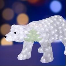 """Акриловая светодиодная фигура """"Белый медведь"""", 81х41х45 см, 270 светодиодов белого цвета, IP 44, понижающий трансформатор в комплекте"""