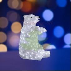 """Акриловая светодиодная фигура """"Белый медведь"""" 36х41х53 см, 200 светодиодов, IP44, понижающий трансформатор в комплекте"""