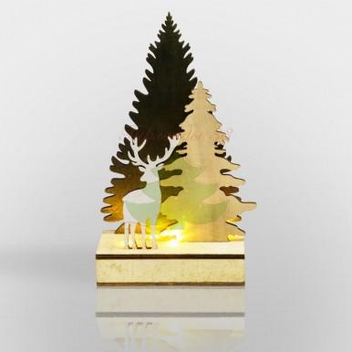 """Деревянная фигурка с подсветкой """"Елочка с оленем"""" 12*6*21,5 см"""