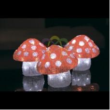 """Акриловая светодиодная фигура """"Семья мухоморов 3 штуки"""",15х15х15 см, 60 светодиодов, IP44 понижающий трансформатор в комплекте"""