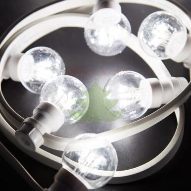 Гирлянда LED Galaxy Bulb String 10м, белый КАУЧУК, 30 ламп*6 LED БЕЛЫЙ ДИОД, влагостойкая IP65