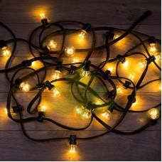 Гирлянда LED Galaxy Bulb String 10м, черный КАУЧУК, 30 ламп*6 LED ЖЕЛТЫЙ ДИОД, влагостойкая IP65