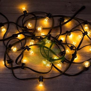 Гирлянда LED Galaxy Bulb String 10м, черный КАУЧУК, 30 ламп*6 LED ТЕПЛЫЙ БЕЛЫЙ, влагостойкая IP65