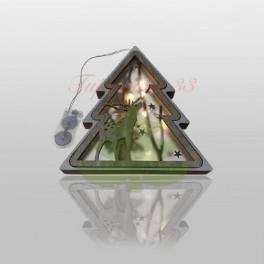 Деревянная фигурка с подсветкой «Подвесная елочка» 16х2х18 см