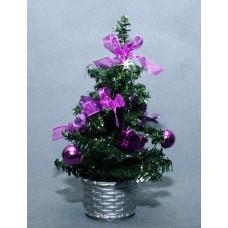 Ель украшенная 20 см, фиолетовый цвет украшений