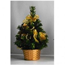 Ель украшенная 20 см, золотой цвет украшений