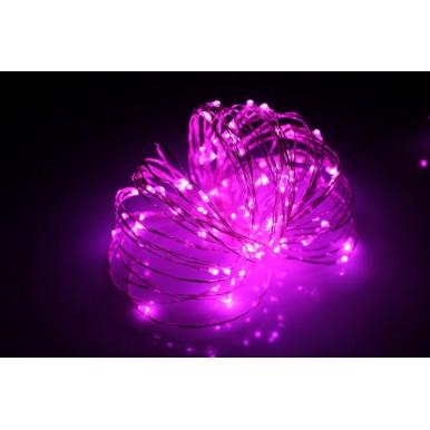Роса светодиодная, 10 метров, розовый