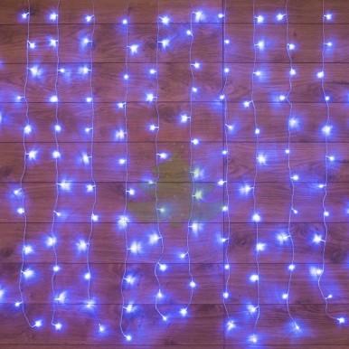 Светодиодный Дождь 1,5х1,5м, свечение с динамикой, прозрачный провод, диоды СИНИЕ, NEON-NIGHT,NEON NIGHT