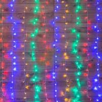 """""""Светодиодный Дождь"""" 1,5х1,5м, свечение с динамикой, прозрачный провод, диоды МУЛЬТИКОЛОР, NEON-NIGHT"""
