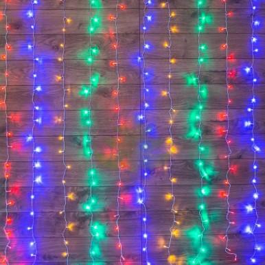 Светодиодный Дождь 1,5х1,5м, свечение с динамикой, прозрачный провод, диоды МУЛЬТИКОЛОР, NEON-NIGHT,NEON NIGHT
