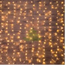 """""""Светодиодный Дождь"""" 1,5х1,5м, свечение с динамикой, прозрачный провод, диоды ТЕПЛО-БЕЛЫЕ, NEON-NIGHT"""