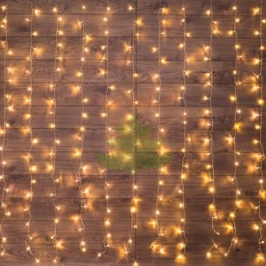Светодиодный Дождь 1,5х1,5м, свечение с динамикой, прозрачный провод, диоды ТЕПЛО-БЕЛЫЕ, NEON-NIGHT,NEON NIGHT