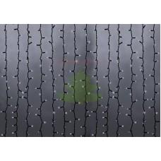 """""""Светодиодный Дождь"""" 2х6м, эффект водопада, черный провод, диоды БЕЛЫЕ, NEON-NIGHT"""