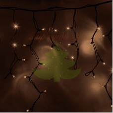 "Айсикл (бахрома) светодиодный, 3,2х0,6 м, черный провод ""КАУЧУК"", диоды теплые белые, NEON-NIGHT"
