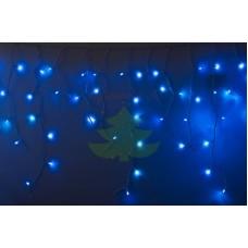 Айсикл (бахрома) светодиодный, 2,4х0,6м, эффект мерцания, белый провод, диоды СИНИЕ, NEON-NIGHT