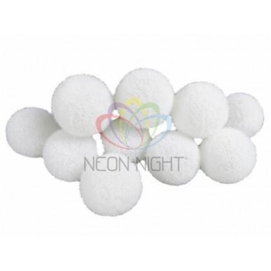 Гирлянда светодиодная Шарики - снежки 3 м 10 диодов, цвет белый,NEON NIGHT