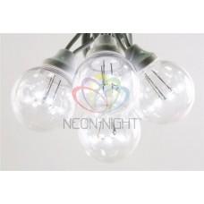 """Готовый набор: Гирлянда """"LED Galaxy Bulb String"""", 30 ламп, 10 м, в лампе 6 LED, цвет белый, провод черный каучуковый, влагостойкая IP54"""