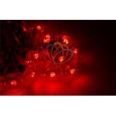 """Готовый набор: Гирлянда """"LED Galaxy Bulb String"""", 30 ламп, 10 м, в лампе 6 LED, цвет красный, провод черный каучуковый, влагостойкая IP54"""