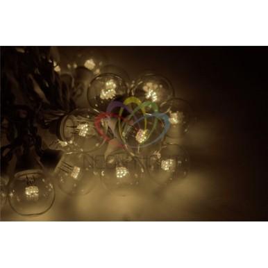 Готовый набор: Гирлянда LED Galaxy Bulb String, 30 ламп, 10 м, в лампе 6 LED, цвет тепло-белый, провод черный каучуковый, влагостойкая IP54,NEON NIGHT