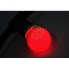 Лампа шар 45мм, 3 LED, красная, 1Вт