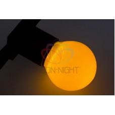 Лампа шар 45мм, 6 LED, желтая, прозрачная колба, 1Вт
