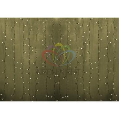 Светодиодный Дождь 2х1,5м, статика, прозрачный провод, диоды ТЁПЛО-БЕЛЫЕ,