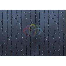 """""""Светодиодный Дождь"""" 2х1,5м, статика, темно-зеленый провод, диоды БЕЛЫЕ, NEON-NIGHT"""