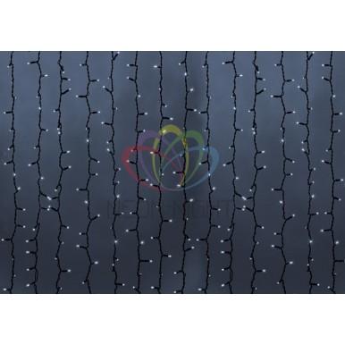 Светодиодный Дождь 2х1,5м, статика, темно-зеленый провод, диоды БЕЛЫЕ, NEON-NIGHT,NEON NIGHT