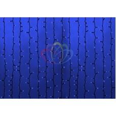 """""""Светодиодный Дождь"""" 2х1,5м, статика, темно-зеленый провод, диоды СИНИЕ, NEON-NIGHT"""