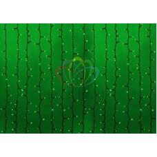 """""""Светодиодный Дождь"""" 2х1,5м, статика, темно-зеленый провод, диоды ЗЕЛЁНЫЕ, NEON-NIGHT"""