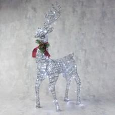 """""""Олень"""", 80 см, 80 LED, 220 В, цвет серебро с подсветкой"""