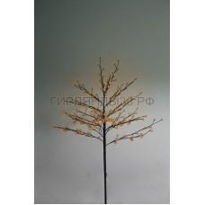 САКУРА светодиодная комнатная, коричневый ствол, 1,2 м, диоды тепло-белые (80шт), IP44