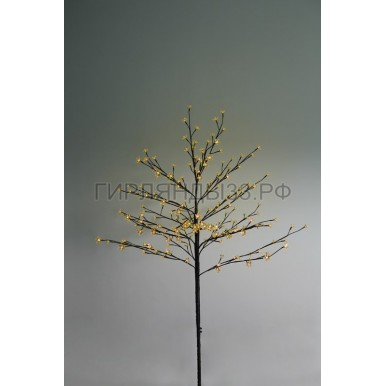 САКУРА светодиодная комнатная, коричневый ствол, 1,2 м, диоды желтые (80шт), IP44,NEON NIGHT