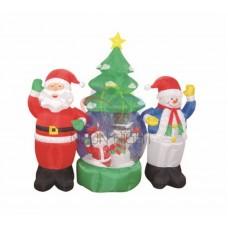 """3D фигура надувная """"Дед Мороз и Снеговик"""", диаметр шара 120 см, общий размер 210 см, с подсветкой, компрессор с адаптером 12В, IP 44"""