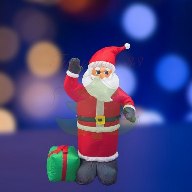 3D фигура надувная Дед Мороз с подарком, размер 120 см, внутренняя подсветка 3 лампы, компрессор с адаптером 12В, IP 44,NEON NIGHT