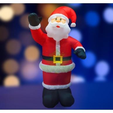3D фигура надувная Дед Мороз приветствует, размер 240 см, внутренняя подсветка 5 ламп, компрессор с адаптером 12В, IP 44,NEON NIGHT