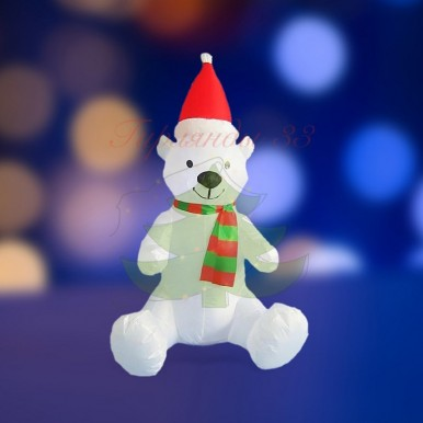 """3D фигура надувная """"Белый медведь"""", размер 120 см, внутренняя подсветка 5 светодиодов, компрессор с адаптером 12В, IP 44, NEON NIGHT"""