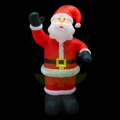 3D фигура надувная Дед Мороз приветствует, размер 150 см, внутренняя подсветка 4 лампы, компрессор с адаптером 12В, IP 44,NEON NIGHT