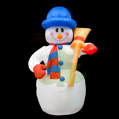 3D фигура надувная Снеговик с метлой, размер 180 см, внутренняя подсветка 4 лампы, компрессор с адаптером 12В, IP 44, NEON NIGHT