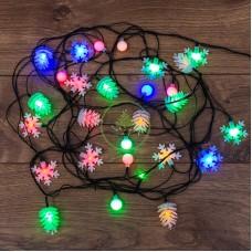 Гирлянда светодиодная универсальная с насадками (шарики, снежинки, елочки) 30 LED МУЛЬТИКОЛОР, 4,4 метра с контроллером, темно-зеленый ПВХ-провод, диоды МУЛЬТИКОЛОР, NEON-NIGHT