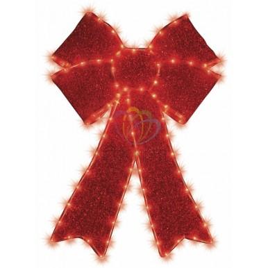 Фигура Бантик бархатная, с постоянным свечением, размеры 75*65 см (182 КРАСНЫХ светодиода),NEON NIGHT