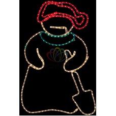 """Фигура светодиодная """"Снеговик с лопатой"""", размер 94*63 см"""