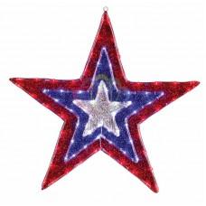 """Фигура """"Звезда"""" бархатная, с динамикой, размеры 91 см (129 светодиод красный+голубой+белый цвета)"""