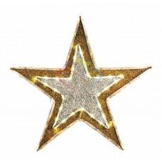 """Фигура """"Звезда"""" бархатная, с постоянным свечением, размеры 61 см (81 светодиод желтого+белого цвета)"""