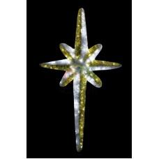 """Фигура """"Звезда 8-ми конечная"""", LED подсветка высота 120см, бело-золотая"""