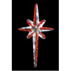 """Фигура """"Звезда 8-ми конечная"""", LED подсветка высота 120см, красно-белая"""