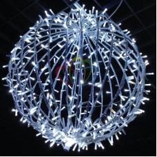 Шар светодиодный на столб, диаметр 120 см, 600 светодиодов, цвет белый, нить 60м