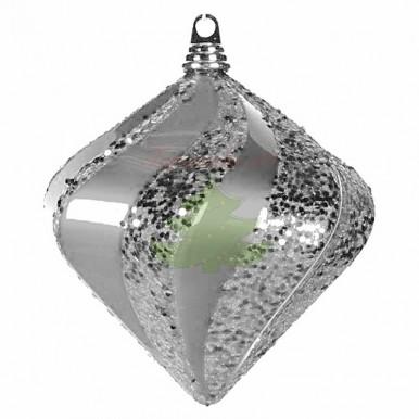 "Елочная фигура ""Алмаз"", 25см, цвет серебро"