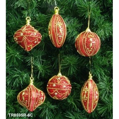 Набор украшений 6шт в ассортименте, 3 шара, 2 луковицы, 2 оливера, красный, TR8595R-6C